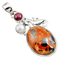 Clearance Sale- 21.18cts natural brown bauxite garnet pearl 925 silver seahorse pendant d43202