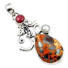 19.00cts natural brown bauxite garnet pearl 925 silver symbol om pendant d43209