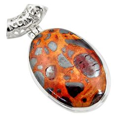25.57cts natural brown bauxite oval 925 sterling silver pendant jewelry d42180