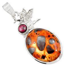 22.59cts natural brown bauxite red garnet 925 sterling silver pendant d42171
