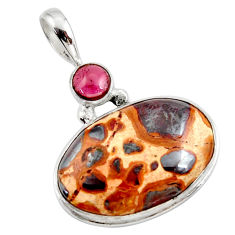 17.57cts natural brown bauxite red garnet 925 sterling silver pendant r27715