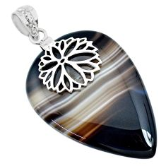 40.46cts natural brown botswana agate 925 silver handmade pendant r74539