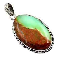 Clearance Sale- 18.68cts natural brown boulder chrysoprase 925 sterling silver pendant d45377