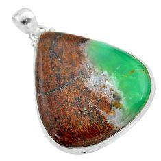 38.72cts natural brown boulder chrysoprase 925 sterling silver pendant t42405