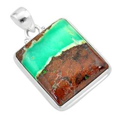 25.41cts natural brown boulder chrysoprase 925 sterling silver pendant t42417
