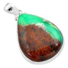 30.44cts natural brown boulder chrysoprase 925 sterling silver pendant t42425