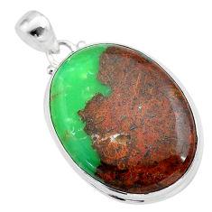 27.08cts natural brown boulder chrysoprase 925 sterling silver pendant t42428
