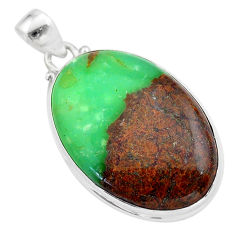 27.13cts natural brown boulder chrysoprase oval sterling silver pendant t42408