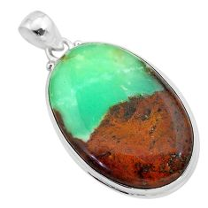 30.44cts natural brown boulder chrysoprase oval sterling silver pendant t42416