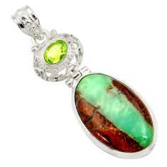 Clearance Sale- 20.07cts natural brown boulder chrysoprase peridot 925 silver pendant d45379