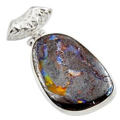 25.57cts natural brown boulder opal 925 sterling silver pendant jewelry d45241