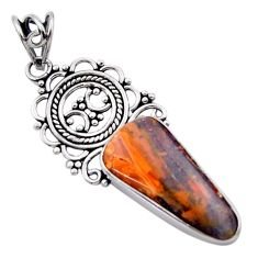 13.55cts natural brown boulder opal 925 sterling silver pendant jewelry d46722