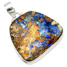 32.48cts natural brown boulder opal 925 sterling silver pendant jewelry r36265