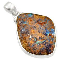 26.16cts natural brown boulder opal 925 sterling silver pendant jewelry r36278
