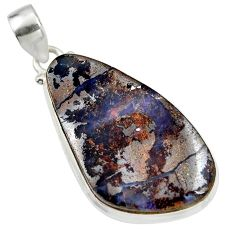 30.46cts natural brown boulder opal 925 sterling silver pendant jewelry r45150