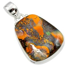 22.70cts natural brown boulder opal 925 sterling silver pendant jewelry r45195