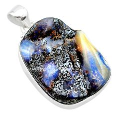24.38cts natural brown boulder opal 925 sterling silver pendant jewelry t22322