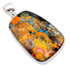 29.35cts natural brown boulder opal 925 sterling silver pendant jewelry t22323