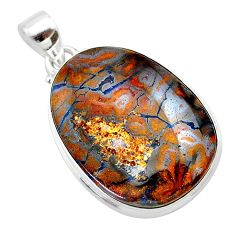 23.95cts natural brown boulder opal 925 sterling silver pendant jewelry t22327