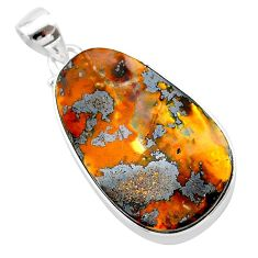 19.68cts natural brown boulder opal 925 sterling silver pendant jewelry t22329
