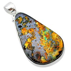 31.00cts natural brown boulder opal 925 sterling silver pendant jewelry t22330