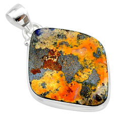 19.23cts natural brown boulder opal 925 sterling silver pendant jewelry t22333