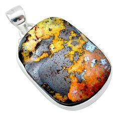 25.57cts natural brown boulder opal 925 sterling silver pendant jewelry t22334