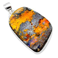 27.70cts natural brown boulder opal 925 sterling silver pendant jewelry t22337