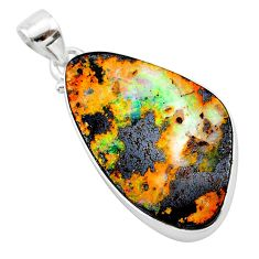 24.35cts natural brown boulder opal 925 sterling silver pendant jewelry t22339
