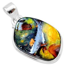 19.34cts natural brown boulder opal 925 sterling silver pendant jewelry t22347