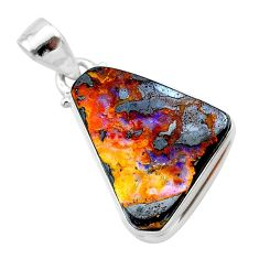 16.82cts natural brown boulder opal 925 sterling silver pendant jewelry t22349