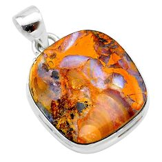 19.37cts natural brown boulder opal 925 sterling silver pendant jewelry t22356