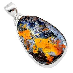 23.87cts natural brown boulder opal 925 sterling silver pendant jewelry t22359
