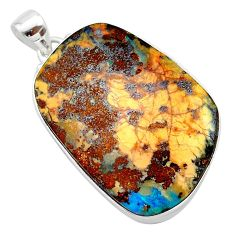 37.13cts natural brown boulder opal 925 sterling silver pendant jewelry t22362