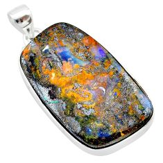 36.09cts natural brown boulder opal 925 sterling silver pendant jewelry t22366