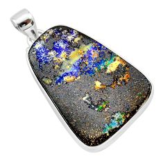 30.83cts natural brown boulder opal 925 sterling silver pendant jewelry t22377