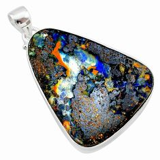 33.68cts natural brown boulder opal 925 sterling silver pendant jewelry t22379
