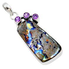 26.70cts natural brown boulder opal amethyst 925 sterling silver pendant r36233