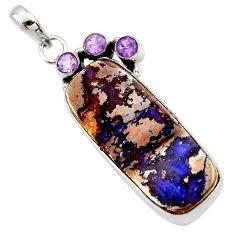 29.40cts natural brown boulder opal amethyst 925 sterling silver pendant r36238