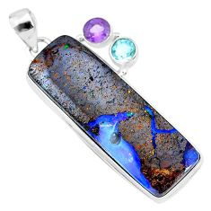40.44cts natural brown boulder opal amethyst topaz 925 silver pendant r74641