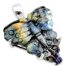 16.28cts natural brown boulder opal carving 925 silver butterfly pendant t24140