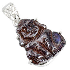 17.50cts natural brown boulder opal carving 925 silver dog charm pendant r79466