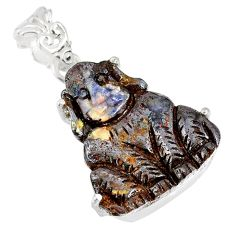 16.98cts natural brown boulder opal carving 925 silver dog charm pendant r79475