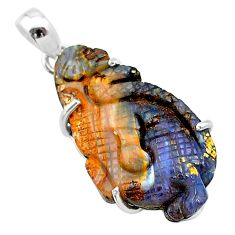 16.85cts natural brown boulder opal carving 925 silver dragon pendant t24112