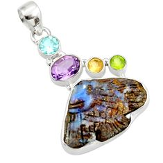 17.57cts natural brown boulder opal carving 925 silver fish pendant d44641