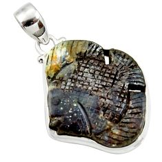 28.30cts natural brown boulder opal carving 925 silver fish pendant d44645