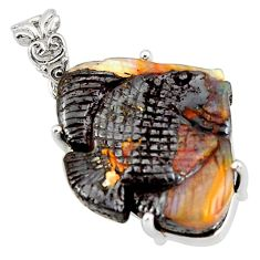 24.16cts natural brown boulder opal carving 925 silver fish pendant r38325