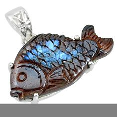20.46cts natural brown boulder opal carving 925 silver fish pendant t10603
