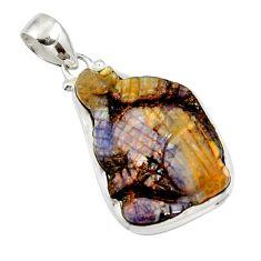 25.00cts natural brown boulder opal carving 925 sterling silver pendant d44662