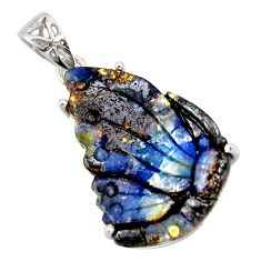 22.09cts natural brown boulder opal carving 925 sterling silver pendant r30772